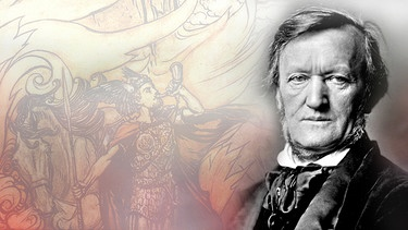 Richard Wagner vor Hintergrund-Zeichnung zur Götterdämmerung | Bild: dpa/Montage: BR/Antonia Schwarz